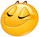 Smiling with closed eyes female emoticon