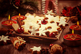 Homemade cookies in vintage look for Christmas