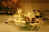 Place setting for Christmas in vintage colors
