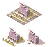 Vector isometric low poly hospital icon