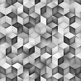 Vector Seamless Greyscale Gradient Cube Shape Rhombus Grid Geometric Pattern