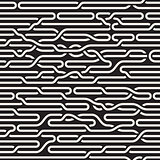 Vector Seamless Black and White Irregular Horizontal Braid Lines Pattern