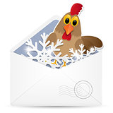Open envelope with rooster. Vector illustration.