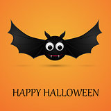 Halloween orange background with flying bat.
