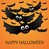 Halloween orange background with flying bats.