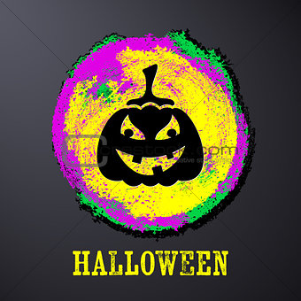 Black halloween card with pumpkin
