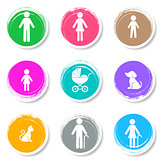 Vector family icons on colorful buttons