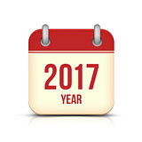 New Year 2017 Calendar Vector Icon on White