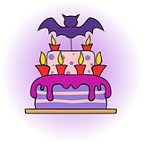 halloween cake with bat and candles