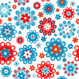 Floral seamless with red and blue flowers