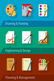 Flat icons with engineering design art planning and management