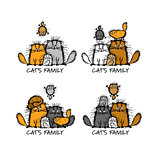 Funny cats family, sketch for your design