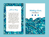 Wedding card template, marine design