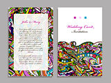 Wedding card template, abstract colorful design