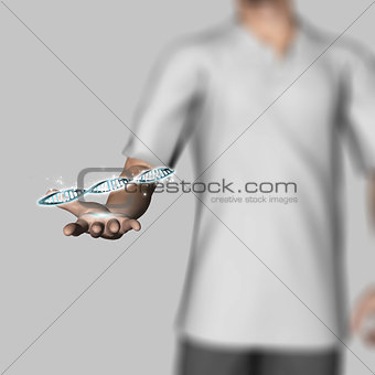 3D male figure holding DNA strands