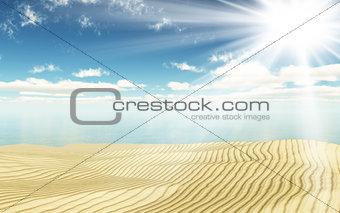 3D sand and ocean landscape