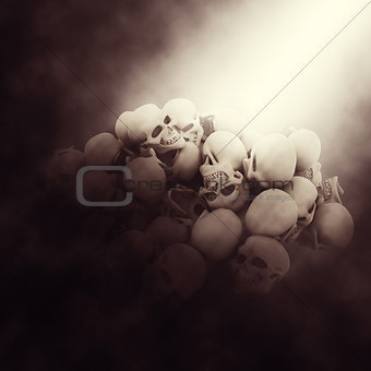 3D spooky background with pile of skulls