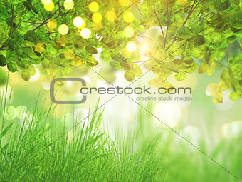 3D grass and tree background