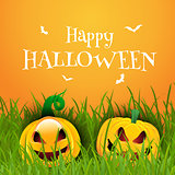 Happy Halloween background with pumpkins