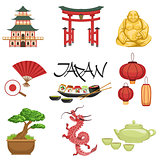 Japanese Culture Symbols Set