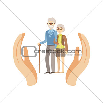 Old Couple Protected By Two Palms
