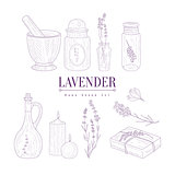 Lavender Products Clipart Elements Hand Drawn Realistic Sketch