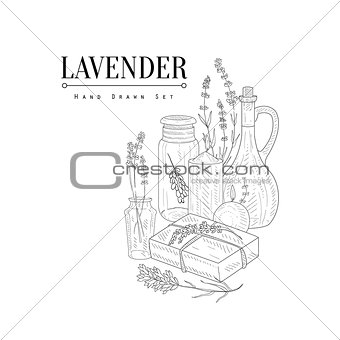 Lavender Natural Cosmetics Hand Drawn Realistic Sketch