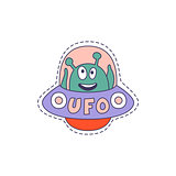 UFO With Alien Bright Hipster Sticker