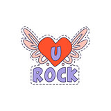 U Rock Winged Heart Bright Hipster Sticker