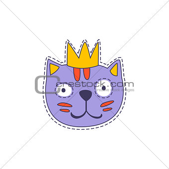 Cat in A Crown Bright Hipster Sticker