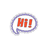 Hi Speech Bubble Bright Hipster Sticker