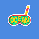 Snorkeling Mask Bright Color Summer Inspired Sticker With Text