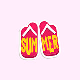 Flip-Flops Bright Color Summer Inspired Sticker With Text