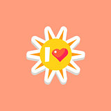 I Love Sun Bright Color Summer Inspired Sticker With Text