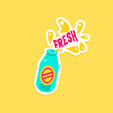 Bottle With Fresh Drink Bright Color Summer Inspired Sticker  Text
