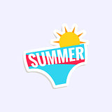 Male Swimwear Bright Color Summer Inspired Sticker With Text