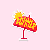 Beach Umbrella Bright Color Summer Inspired Sticker With Text