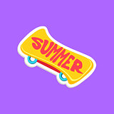Skate Board Bright Color Summer Inspired Sticker With Text