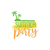 Summer Party Message Watercolor Stylized Label