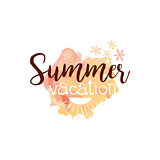 Summer Vacation Message Watercolor Stylized Label
