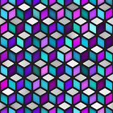 Vector Seamless Multicolor Gradient Cube Shape Rhombus Grid Geometric Pattern
