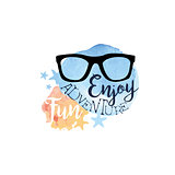 Enjoy Fun Adventure Message Watercolor Stylized Label