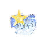 Summer Holydays Message Watercolor Stylized Label