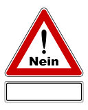 Attention sign Nein with exclamation mark and added sign