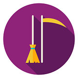 Broom and Scythe Circle Icon