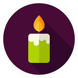 Candle Fire Circle Icon