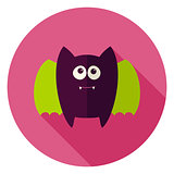 Cute Bat Circle Icon