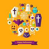 Flat Happy Halloween Concept