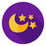 Moon with Stars Circle Icon