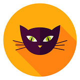 Night Cat Face Circle Icon